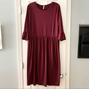 Lime n Chili maroon stretch modest dress